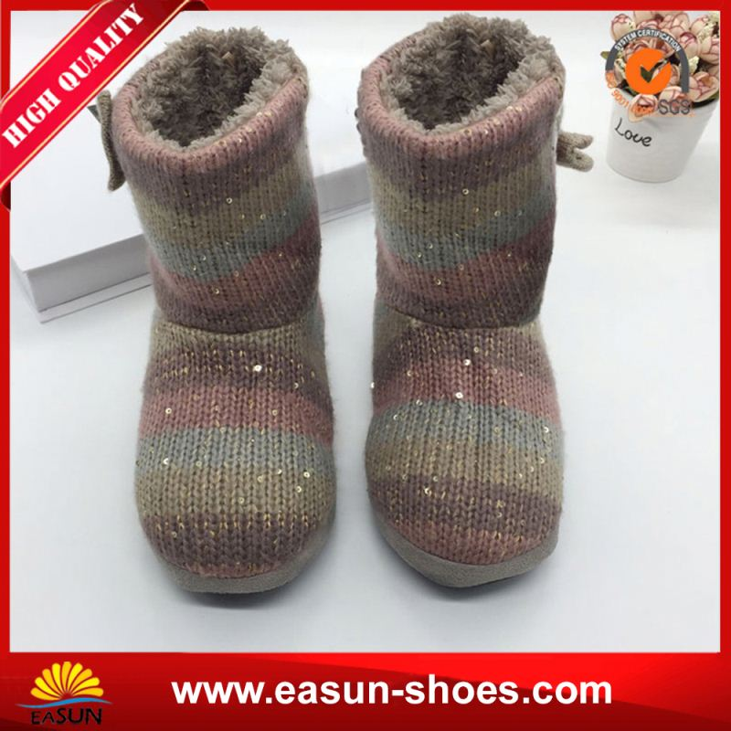 Free sample promotional real fur boots newest style boots metallic pattern snow boots