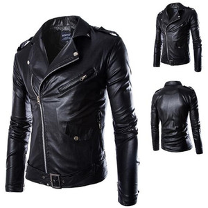 New arrival British Korean Men fashion zipper up punk slim fit windbreaker motorcycle leather biker coat jackets