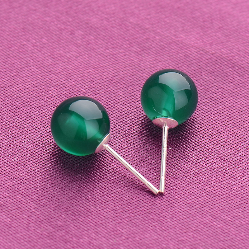 6mm natural green agate earrings for women