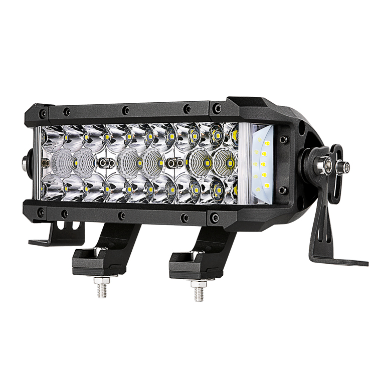 Car Auto Lighting System 7.5'' Triple Row Side Shoot LED Light Bar For ATV Parts Jeep Polaris