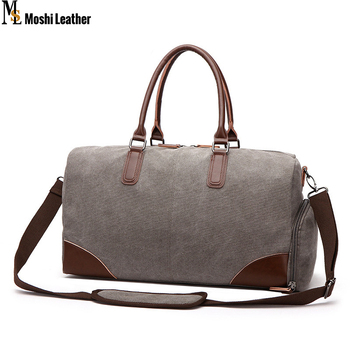 0586702363 18.5   Large Canvas Leather Travel Tote Luggage Men s Weekender Duffle Bag