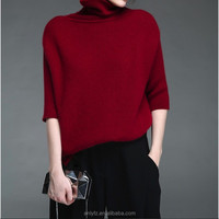 free shipping high-neck sweater short style long sleeve warm wool handmade sweater design for women elegant