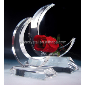 elegant moon shape crystal trophy/custom trophy and awards MH-JB272