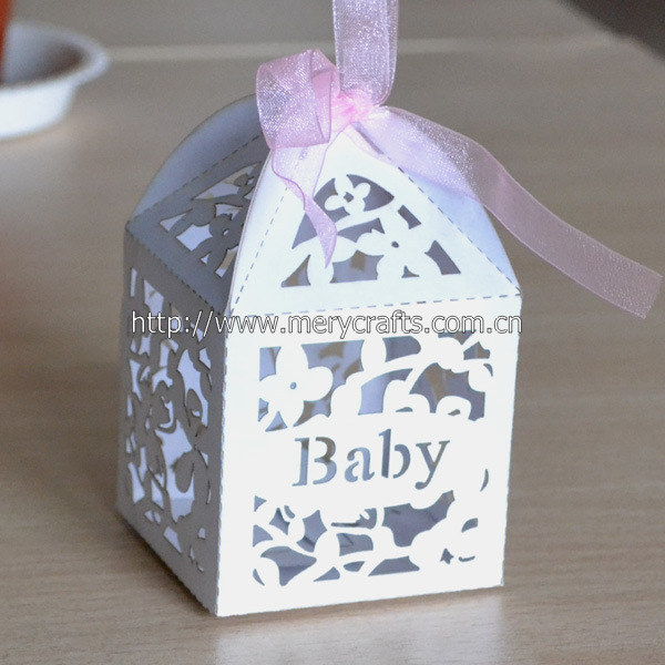 Lovely Newborn Baby Gift Set Favor BoxLaser Cut Paper