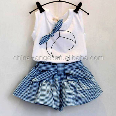 2017 Brand Summer Girls Clothing Sets Fashion Cotton print short sleeve T-shirt and shorts girls clothes sport suits