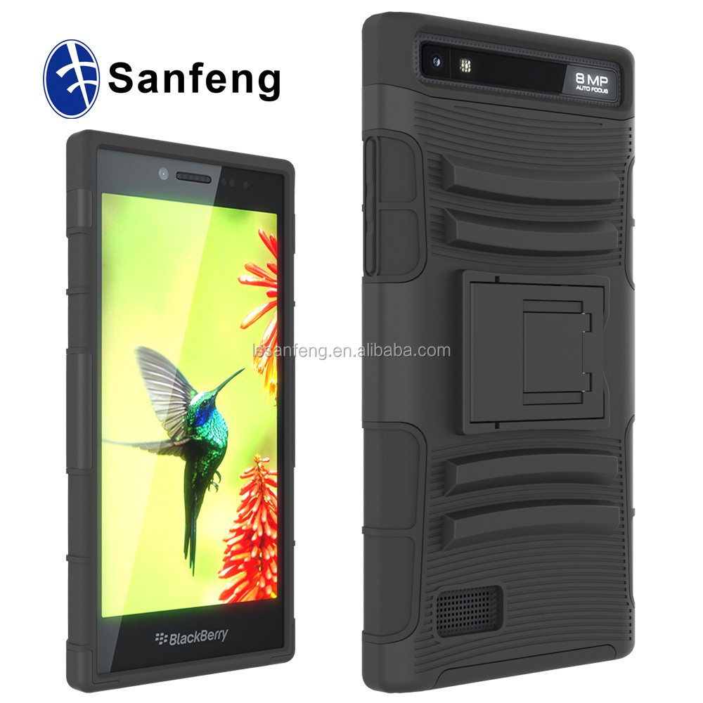 Free sample for blackberry leap Z20 plastic phone cover holster belt case