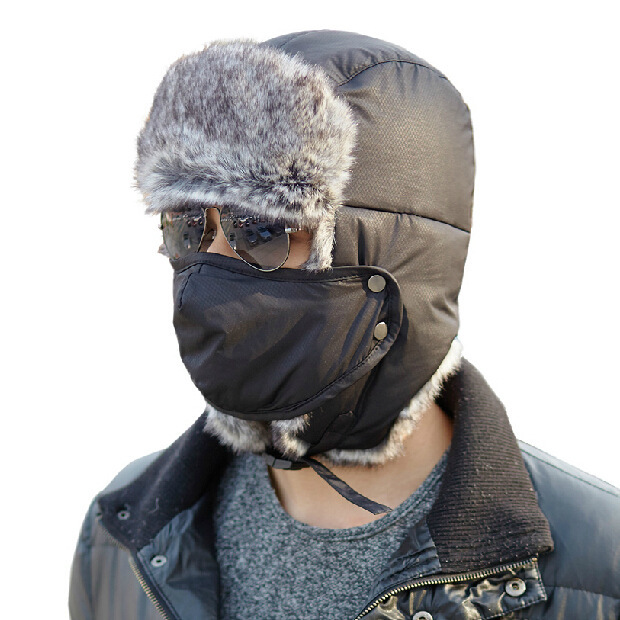 b3c5d9f0eeb Get Quotations · 2014 Winter Fur Hat For Men Bomber Hats With Ear Flaps  Outdoor Winter Ski Cap Thickened