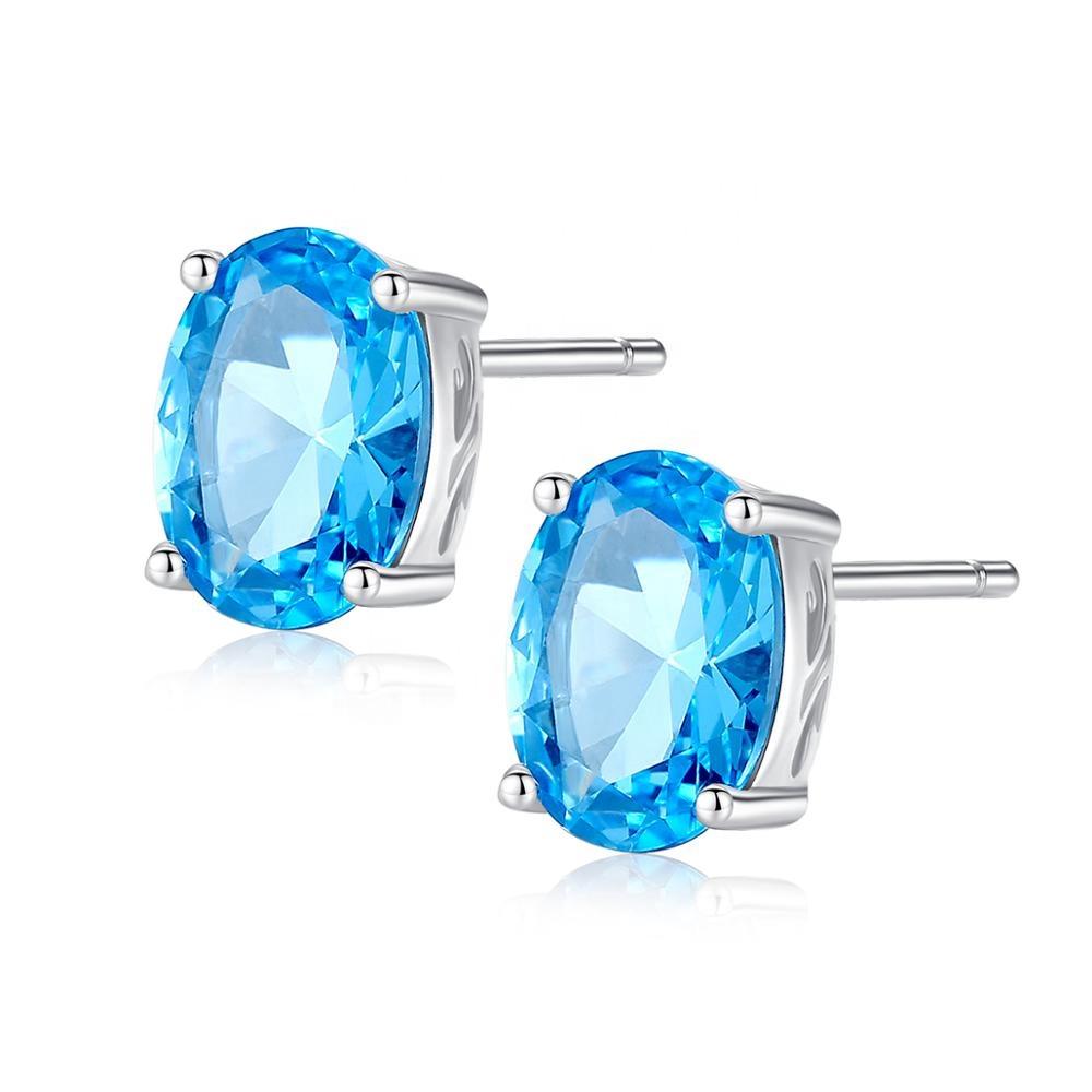 0ce7bfe06b65 CZCITY Real 925 plata esterlina azul cielo Color topacio pendientes damas  elegante joyería de piedras preciosas