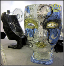 Custom Fiberglass Mosaic Mask Face Chair Sculpture For KTV Bar Fashion Decor