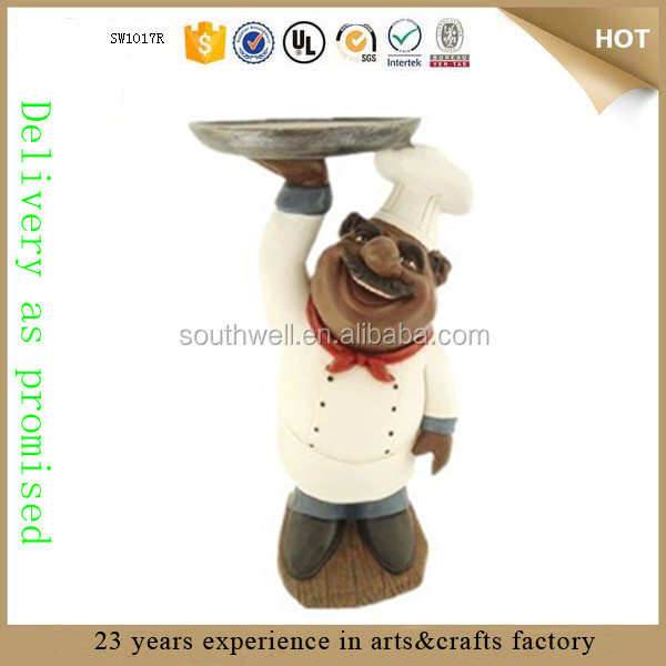 Holding Serving Platter African American Fat chef figurine Kitchen chef Statue