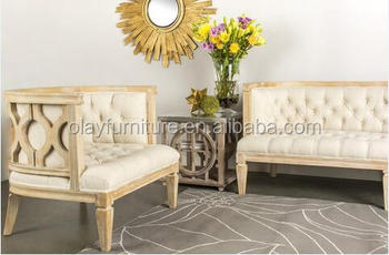 Merveilleux French Wooden Linen Sofa Wooden Tufted Luxury Sofa Set Designs Wedding Sofa  For Party