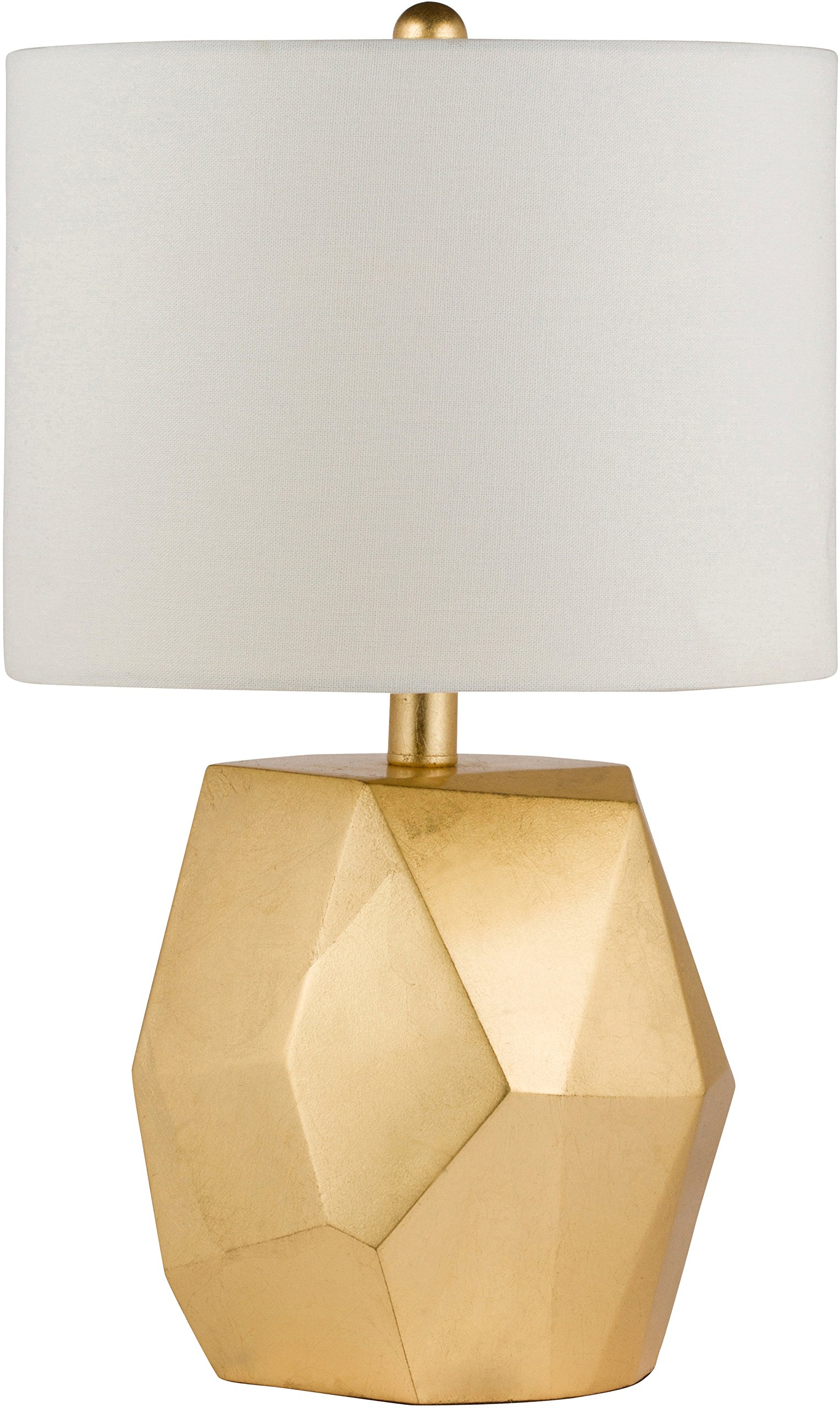 """Virtue Home 701-19GO Modern Table Lamp with White Shade, Textured Fabric""""Rock"""" Style Resin, Coated Base with Gold Finish, 19"""" H, 12"""" x 12"""" x 19"""""""