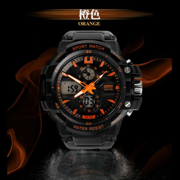 alibaba sport product skmei 0990 digital dual time analog waterproof watch custom logo from original factory