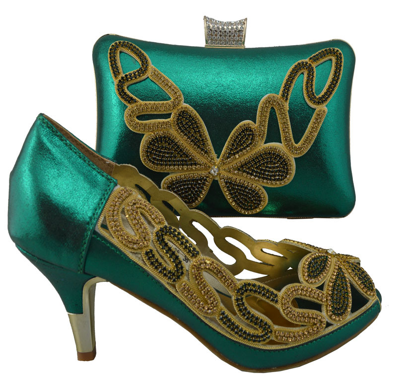 Free shipping Italian ladies shoes and matching bag,top quality African shoes and bag with rhinestones in green color!