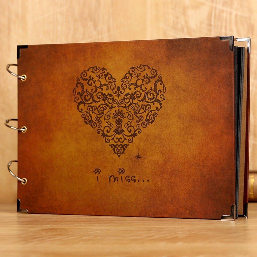 LANNA SHOP- Retro Photo Album,Handmade Couple Anniversary Scrapbook DIY Album,Wedding Memo Photos Album (34x23cm) ( Color : Paper cover )