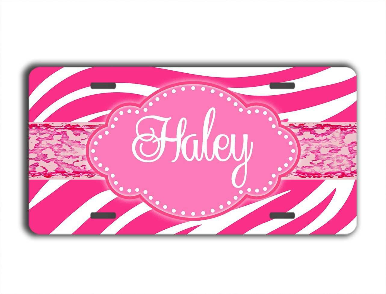 """Hot Pink Zebra Design Decal Sticker Personalize Name Text Any Color 3.5/"""" x 6/"""""""
