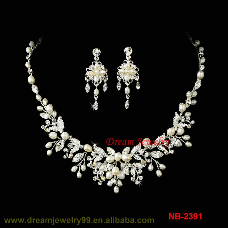 pearl fashion jewelry sets bridal jewellery set crystal necklaces dangled earrings set wedding accessories