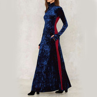 wholesale oem service navy velvet long sleeve dresses for muslim women maxi dress