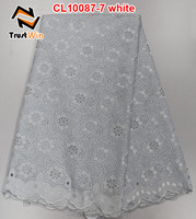 fashion design white african swiss voile lace for bridal CL10087