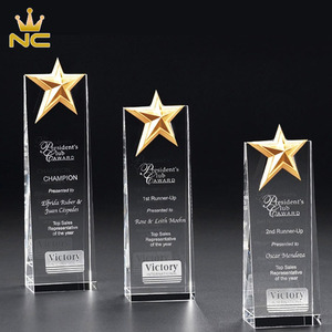 Hot Sale High Quality Optical Crystal Glass Star trophy For Awarding Gifts