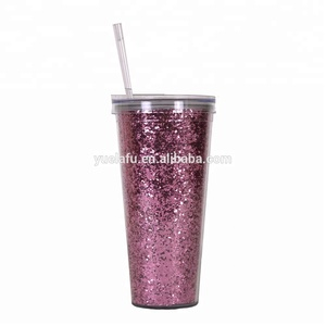 BPA-free drinking mugs with lid glitter insert straw tumbler