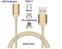 Micro USB Braided Charging Cable Magnetic Adapter Charger For iPhone Android