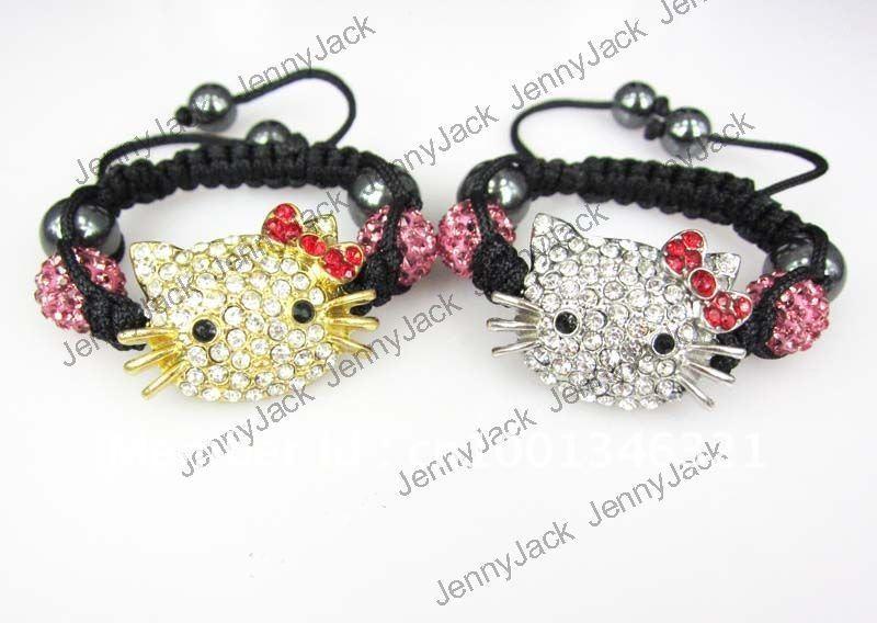 5e33a7ef4 Get Quotations · Free Shipping 12Pcs Hello Kitty Kids Cat Shamballa Bracelet  Children/Child Disco Ball Crystal Beads