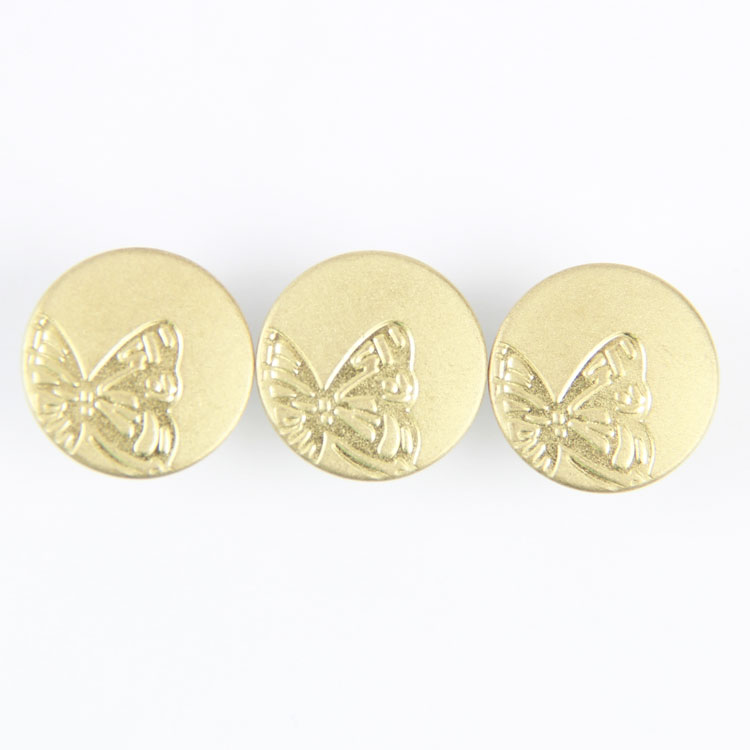 factory direct sale high quality embossed down butterfly pattern gold rubber jeans button and rivets blazer