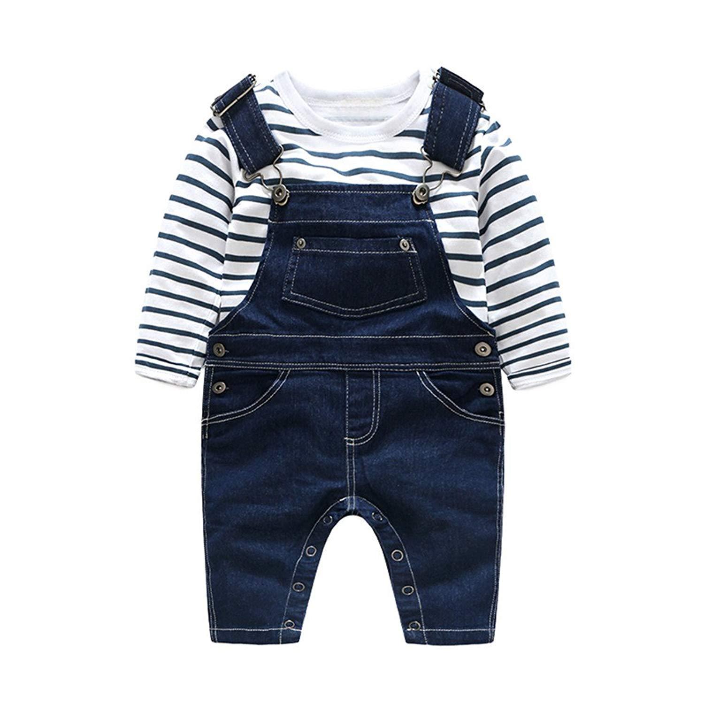 Moyikiss Studio Cotton Casual Unisex Baby Striped Tshirt Denim Suspenders Pants 2Pcs Outfit Sets