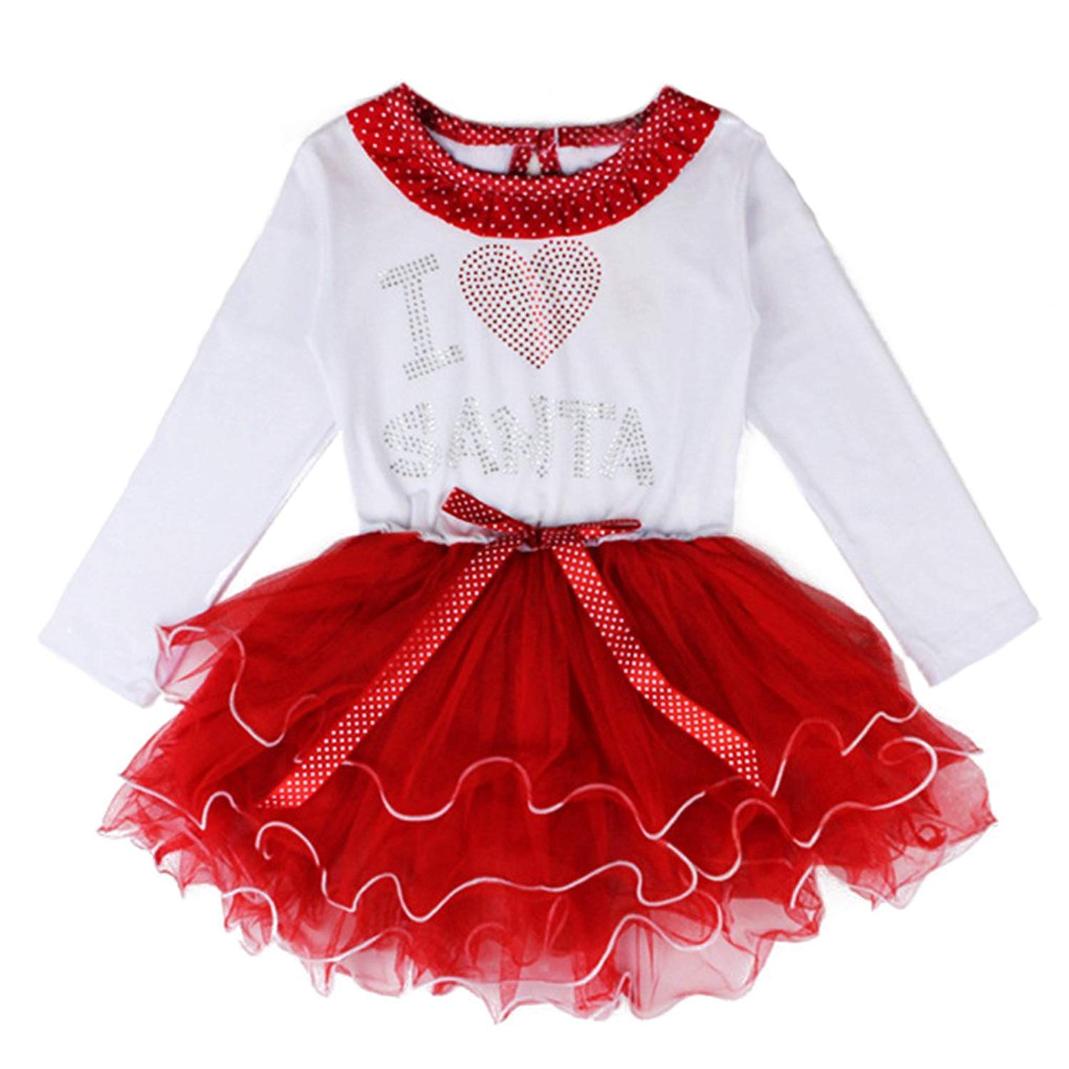 016a586b8 Get Quotations · Dreamowl Little Girls' Red Dot Santa Claus Applique Bow  Ruffle Dress