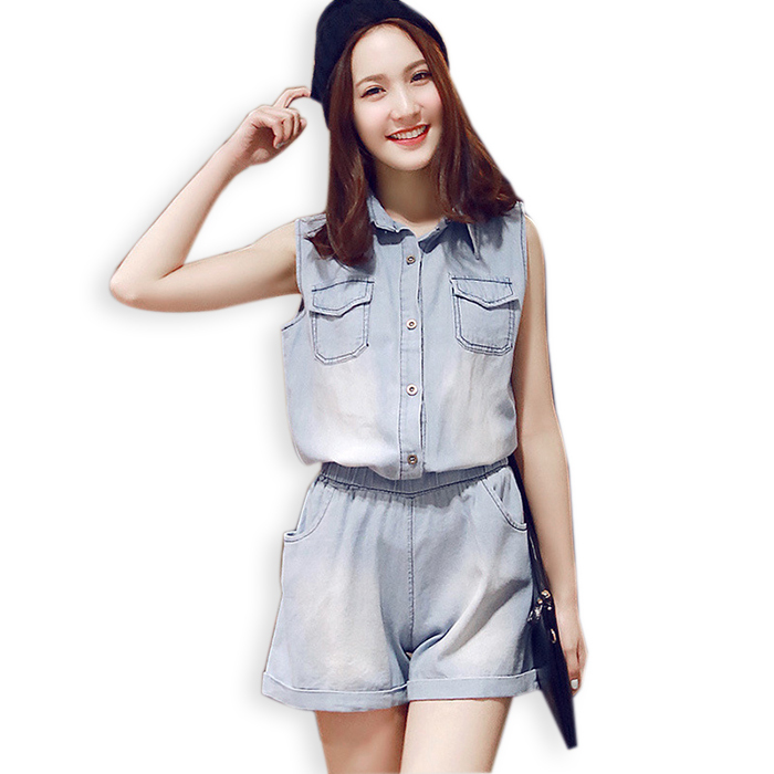 387e754bcbe Get Quotations · Rompers Womens Vintage Denim Jumpsuit 2015 New Summer Style  Korea Washed Loose Casual Short Length Jeans
