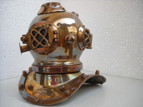 Antique Deep Sea Divers Desk Mini Diving Divers Helmet U.S Navy Mark IV