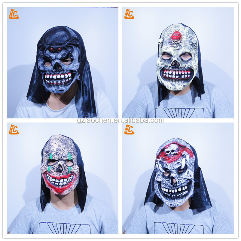 halloween party scary realistic cosplay black hockey mask horror animal latex mask
