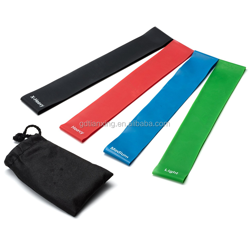 4 Pieces Exercise and Sport with Carry Bag Resistance thera training band