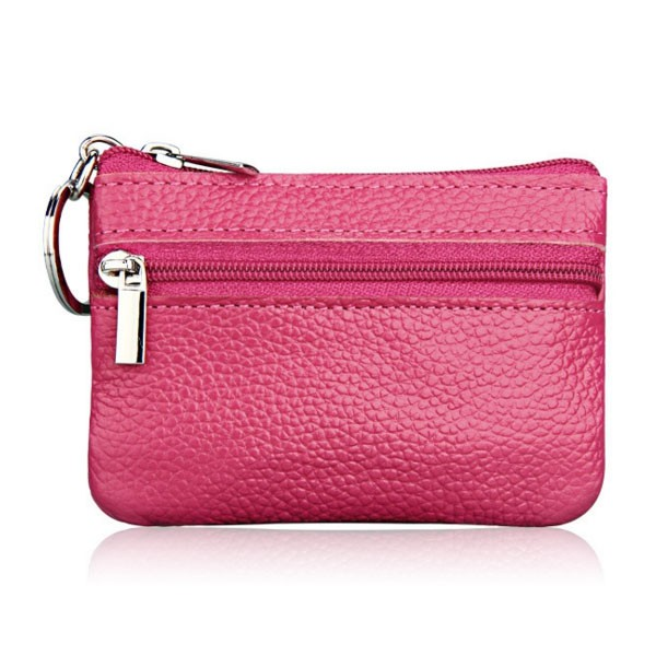 Slim Zipper key chain bag holder unsex genuine leather key wallet various colors