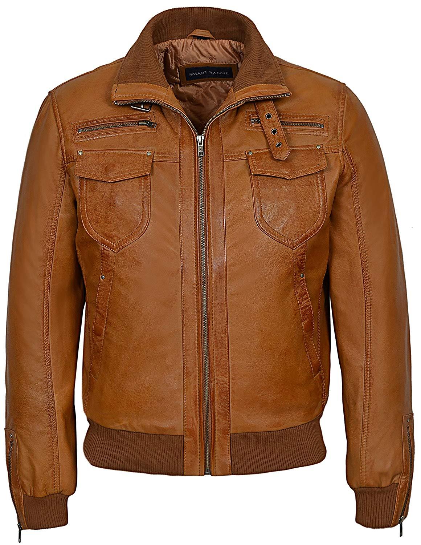Smart Range Tornado' Men's Real Leather Jacket Tan Vintage Washed Fitted Short Bomber Style