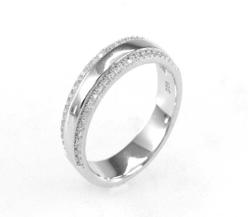 Wholesale 925 Sterling Silver Pure Zircon Rings with Platinum Plated Pure Silver Ring for Men