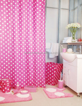 Polka Dot Pink Shower Curtain Bath Mat Set Ceramic Accessories