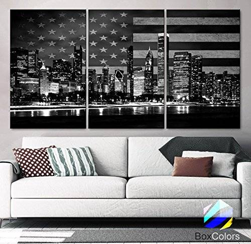 "Original by BoxColors XLARGE 30""x 60"" 3 Panels 30""x20"" Ea Art Canvas Print Flag USA Chicago Skyline night Black & White Wall Home office decor interior (framed 1.5"" depth)"