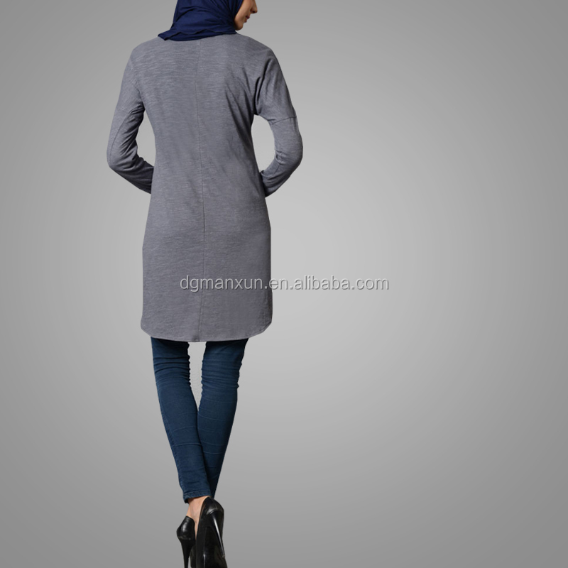 Modest Muslim Lady Daily Wear Faded Dark Grey Simple Cotton Tunic Long Sleeve Elegant Tops Islamic Clothing