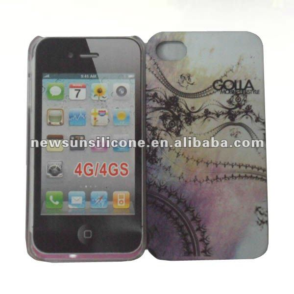 pc hard case with water transfer pattern for iphone 4s rubber finishing