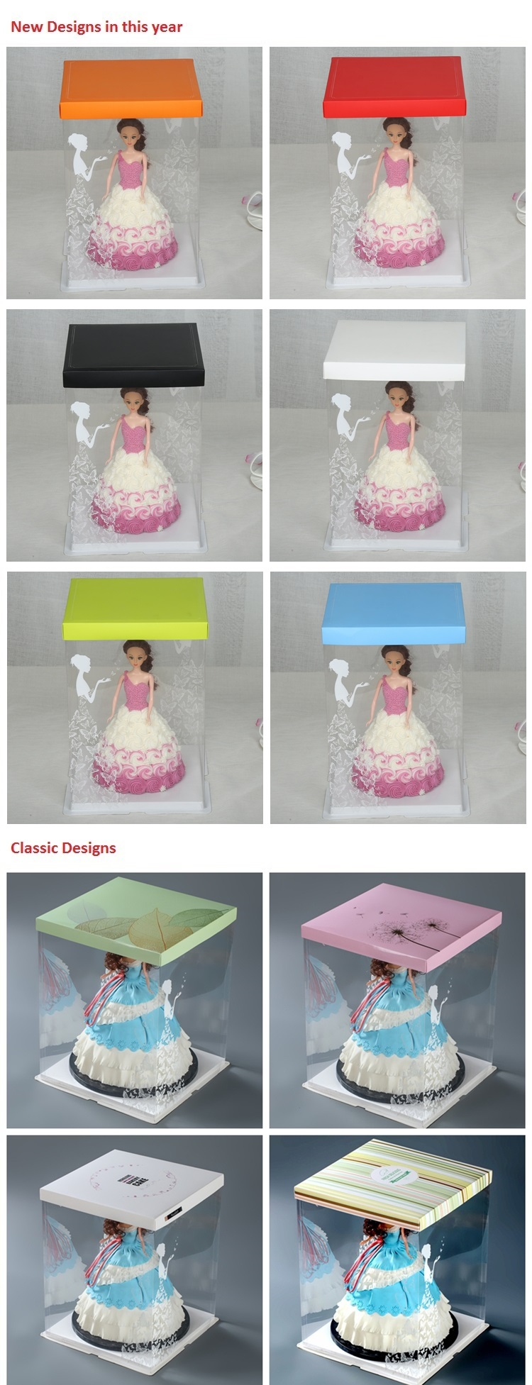 15 inch high three tiered plastic birthday cake box in recycled material at wholesale price
