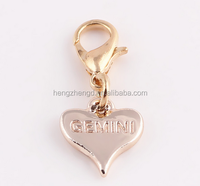 Wholesale fashion gold heart dangle charms pendant with lobster clasp for locket jewelry making