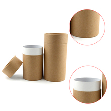 Plain natural brown cylinder kraft mailer boxes with lid