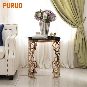 Living room furniture table decoration hollow out glass top corner side table