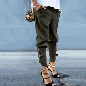 Fashion Harem Pants 2018 Women Trousers Casual Loose Pockets Elastic Waist plus size Pants Leisure Army Green Pants