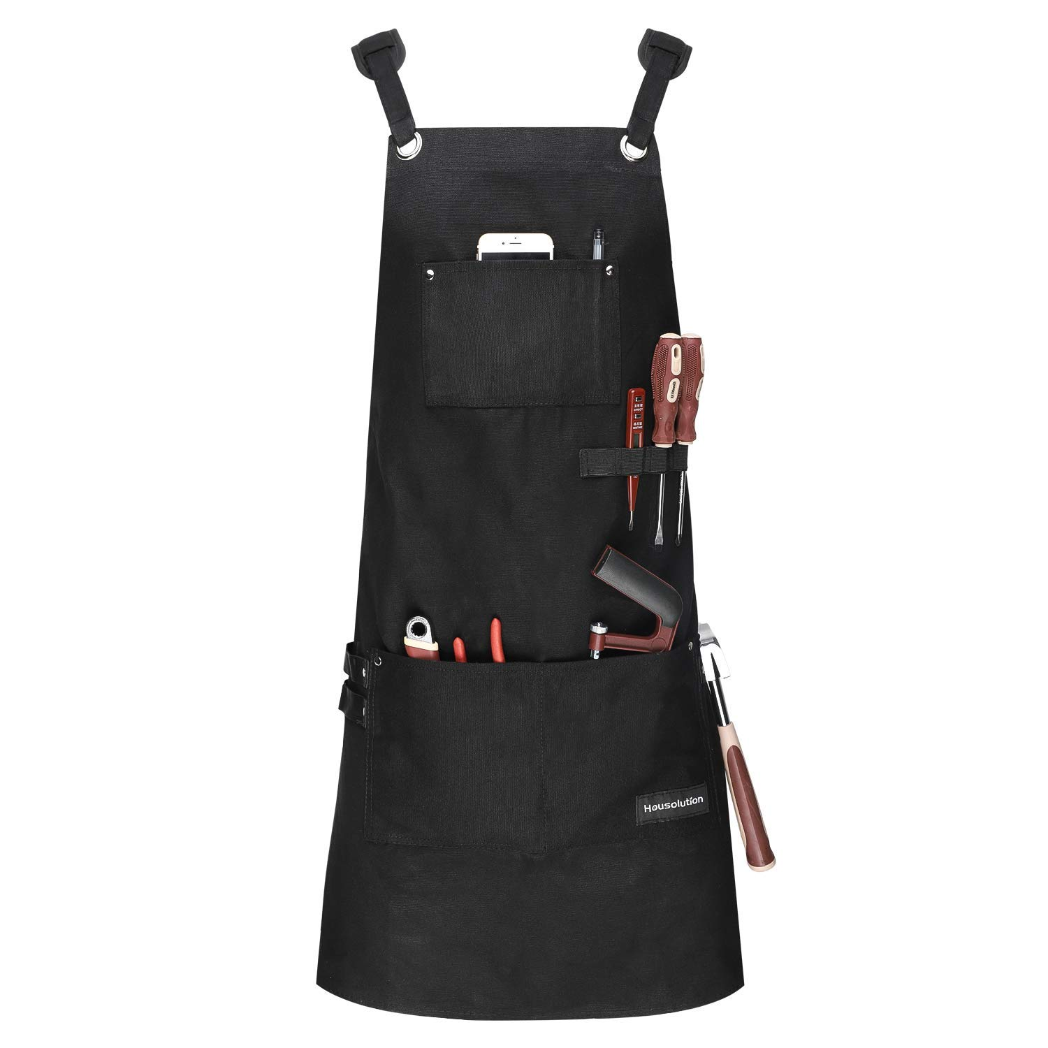 Housolution Work Apron, Multipurpose Heavy Duty Waxed Canvas Waterproof Oil-resistant Tools Apron with Tool Pockets for Woodworking Crafting Painting etc, Cross-Back Straps, Adjustable M to XXL, Black
