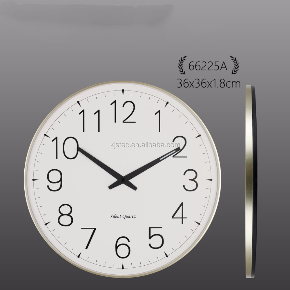 modern plastic framed large wall clock with 1.8cm