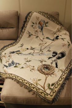 Wholesale Cotton Jacquard Woven Sofa Throws Blanket With Custom Pattern