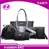 2017 new arrival model wholesale black snakeskin PU leather lady purses and handbags sets for